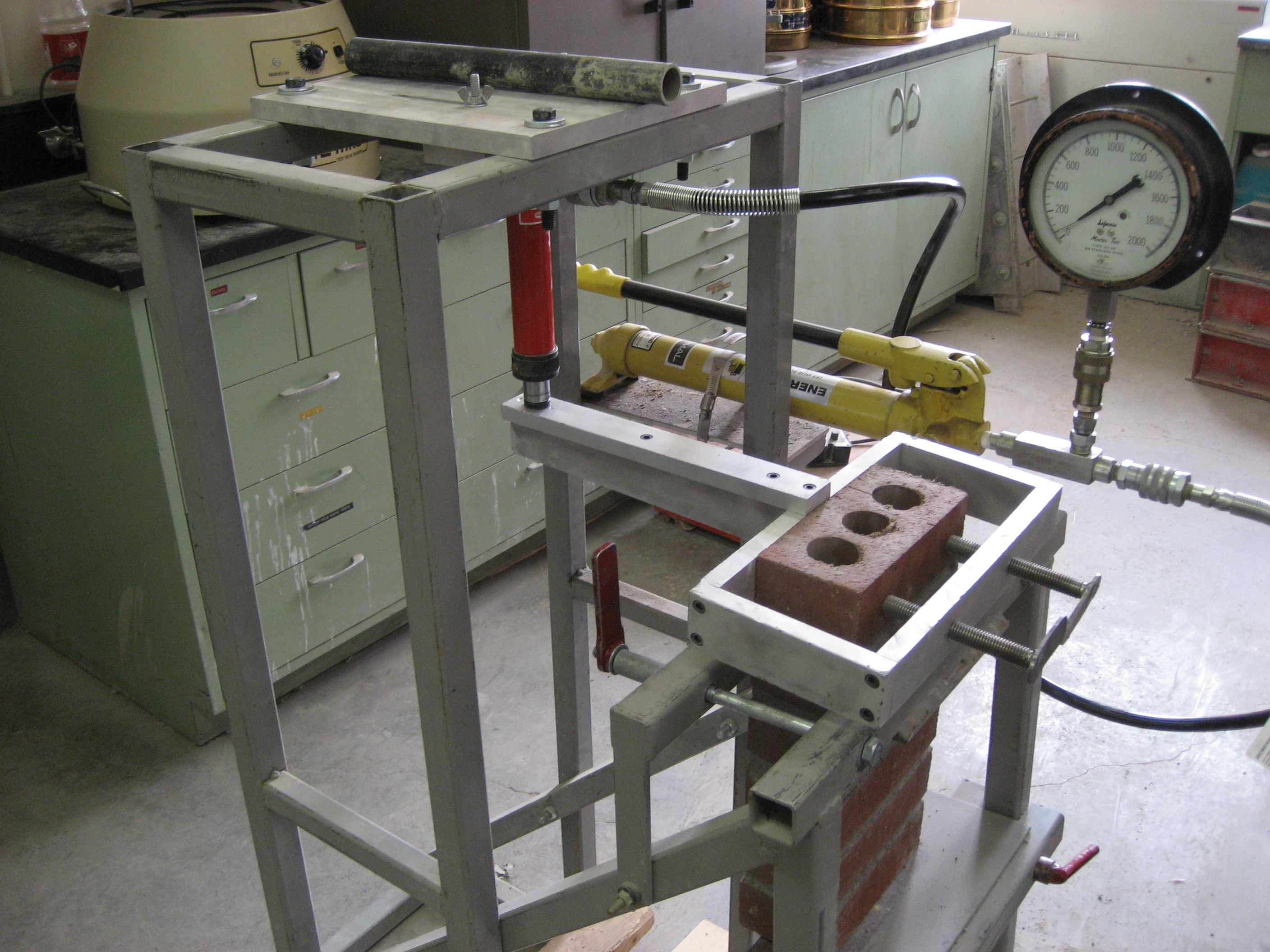 a bond wrench test frame ready to test a masonry prism - Wrench Picture Frame