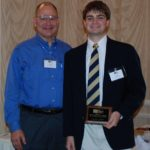 Stephen Crotty (right) stands with his Advisor, Dr. Lawrence F. Kahn (left) while receiving the 2009 Grimm Student Scholarship.