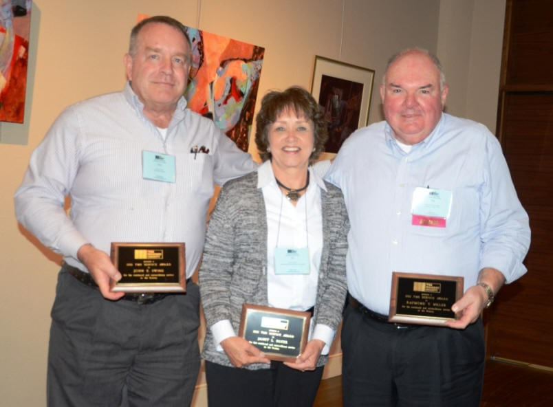 John Swink, Jan Boyer and Ray Miller (left to right) were presented with 2012 TMS Service Awards for their unexpected and exceptional support over the past year.