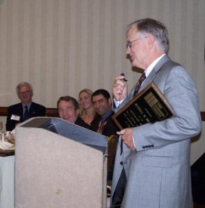 Dr. Brown expresses his thanks after having been officially recognized as an Honorary Member of The Masonry Society.