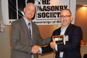 Rubenzer (right) receives 2016 TMS Haller Award from Harris